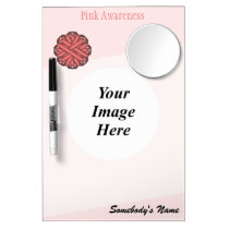 Pink Flower Ribbon Template Dry Erase Board With Mirror