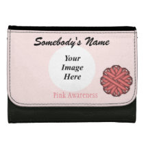 Pink Flower Ribbon Template Leather Wallet For Women