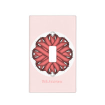Pink Flower Ribbon Template Light Switch Cover