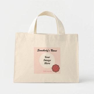 Pink Flower Ribbon Template Mini Tote Bag