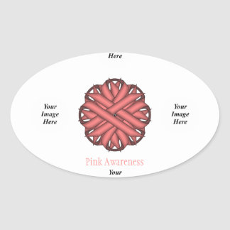 Pink Flower Ribbon Template Oval Sticker