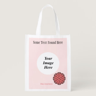 Pink Flower Ribbon Template Reusable Grocery Bag