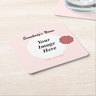 Pink Flower Ribbon Template Square Paper Coaster
