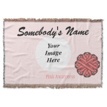 Pink Flower Ribbon Template Throw Blanket