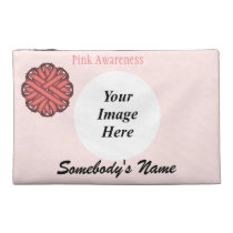 Pink Flower Ribbon Template Travel Accessory Bag