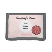 Pink Flower Ribbon Template Tri-fold Wallet
