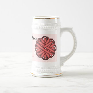 Pink Flower Ribbon Tmpl by Kenneth Yoncich Beer Stein