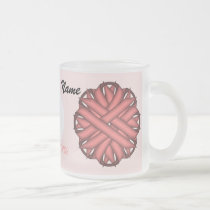Pink Flower Ribbon Tmpl by Kenneth Yoncich Frosted Glass Coffee Mug