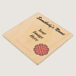 Pink Flower Ribbon Tmpl by Kenneth Yoncich Wooden Coaster