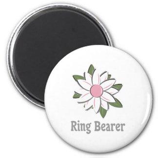Pink Flower Ring Bearer 2 Inch Round Magnet