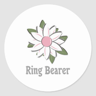 Pink Flower Ring Bearer Classic Round Sticker