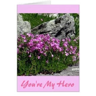 Pink Flower Rock Garden Card