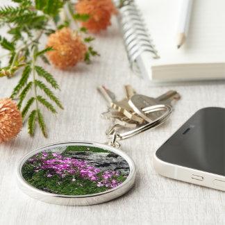 Pink Flower Rock Garden Silver-Colored Round Keychain