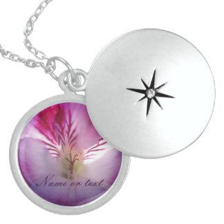 Pink Flower Round Locket Necklace