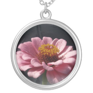 Pink Flower Round Pendant Necklace
