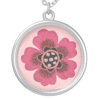 Pink Flower Round Square Silver Necklace