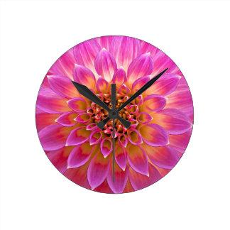Pink Flower Round Wall Clock