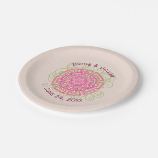 Pink Flower Rustic Abstract Floral Wedding 7 Inch Paper Plate