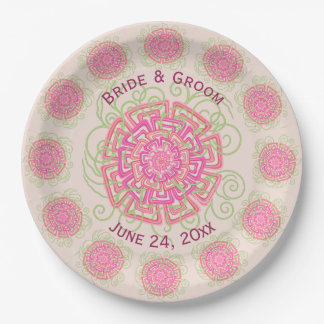 Pink Flower Rustic Abstract Floral Wedding 9 Inch Paper Plate