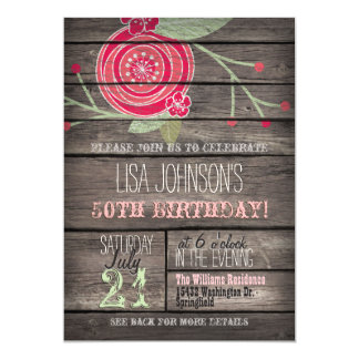 Pink Flower, Rustic Country 50th Birthday Party Card
