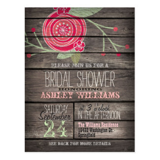 Pink Flower, Rustic Country Bridal Shower Postcard