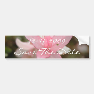 Pink Flower Save The Date Bumper Sticker