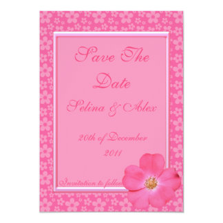 Pink Flower Save the Date Card