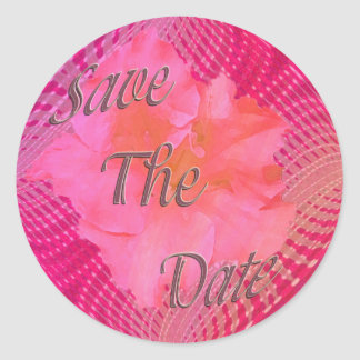 Pink flower save the date classic round sticker
