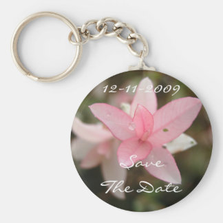 Pink Flower Save The Date Keychain
