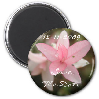 Pink Flower Save The Date Magnet