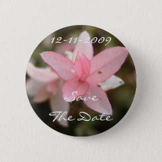 Pink Flower Save The Date Pinback Button