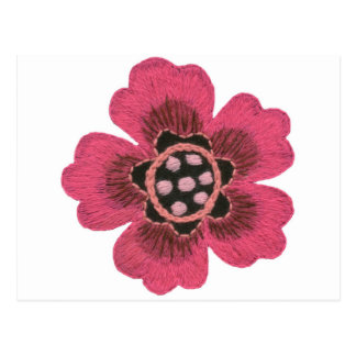 Pink flower set postcard