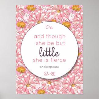 Pink Flower She is Fierce Nursery Poster