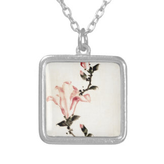 Pink Flower Silver Plated Necklace