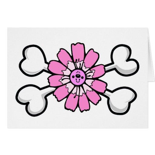 pink flower Skull and Crossbones Greeting Card