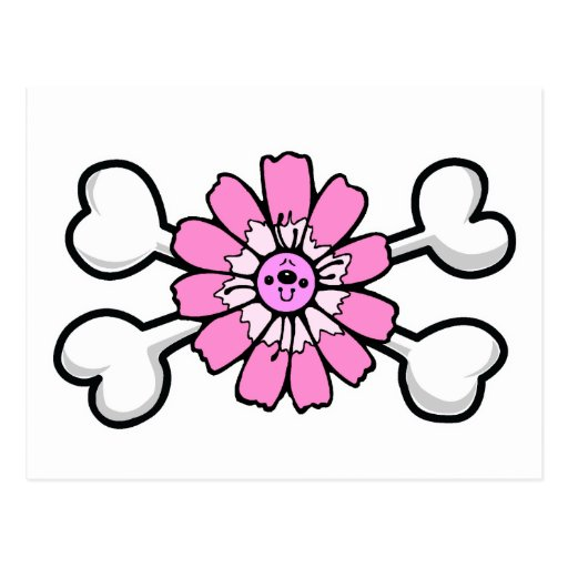 pink flower Skull and Crossbones Postcard