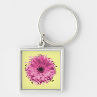 Pink Flower square keychain
