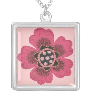 Pink Flower Square Sterling Necklace