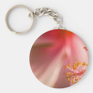 Pink Flower Stamen Macro Photography Keychain