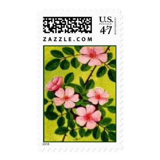 Pink flower stamp