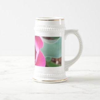 Pink Flower Stein 18 Oz Beer Stein