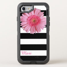 Pink Flower Striped Otterbox Defender Iphone 7 Case at Zazzle
