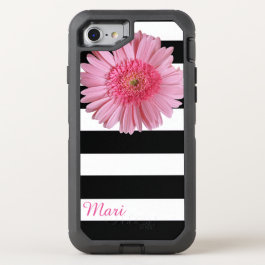Pink Flower Striped OtterBox Defender iPhone 7 Case