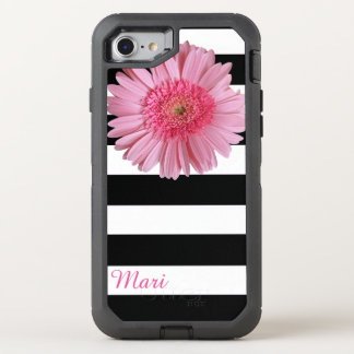 Pink Flower Striped OtterBox Defender iPhone 7 Case