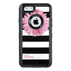 Pink Flower Striped Otterbox Iphone 6 Case at Zazzle
