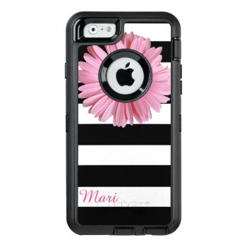 Pink Flower Striped Otterbox Iphone 6 Case by DizzyDebbie at Zazzle