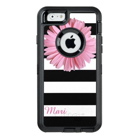 Pink Flower Striped Otterbox Iphone 6 Case