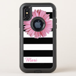 Pink Flower Striped Otterbox iPhone X Case