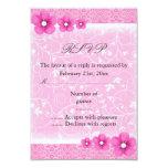 Pink Flower Sweet16 RSVP Card Personalised Invitation