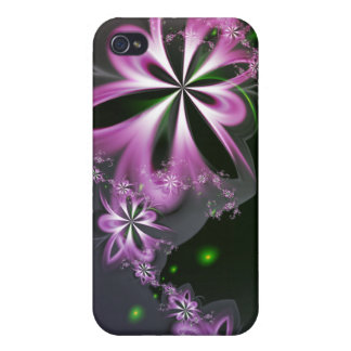 Pink Flower Swirls Abstract Fractal Elegant iPhone 4 Cover